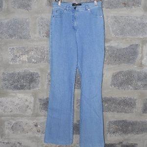 washed hi rise seamed flair stretch denim jeans